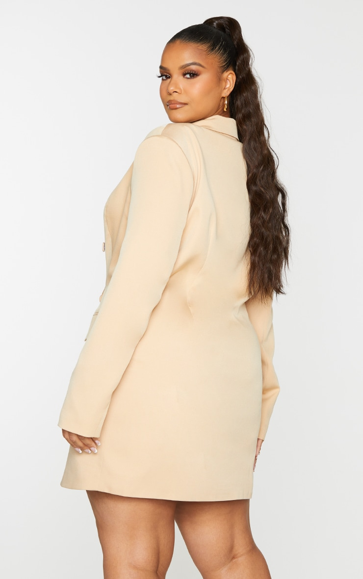 Plus Stone Double Breasted Structured Blazer Dress 2