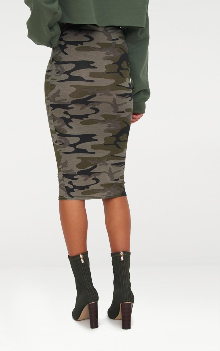 Khaki Camo Print Midi Skirt 4
