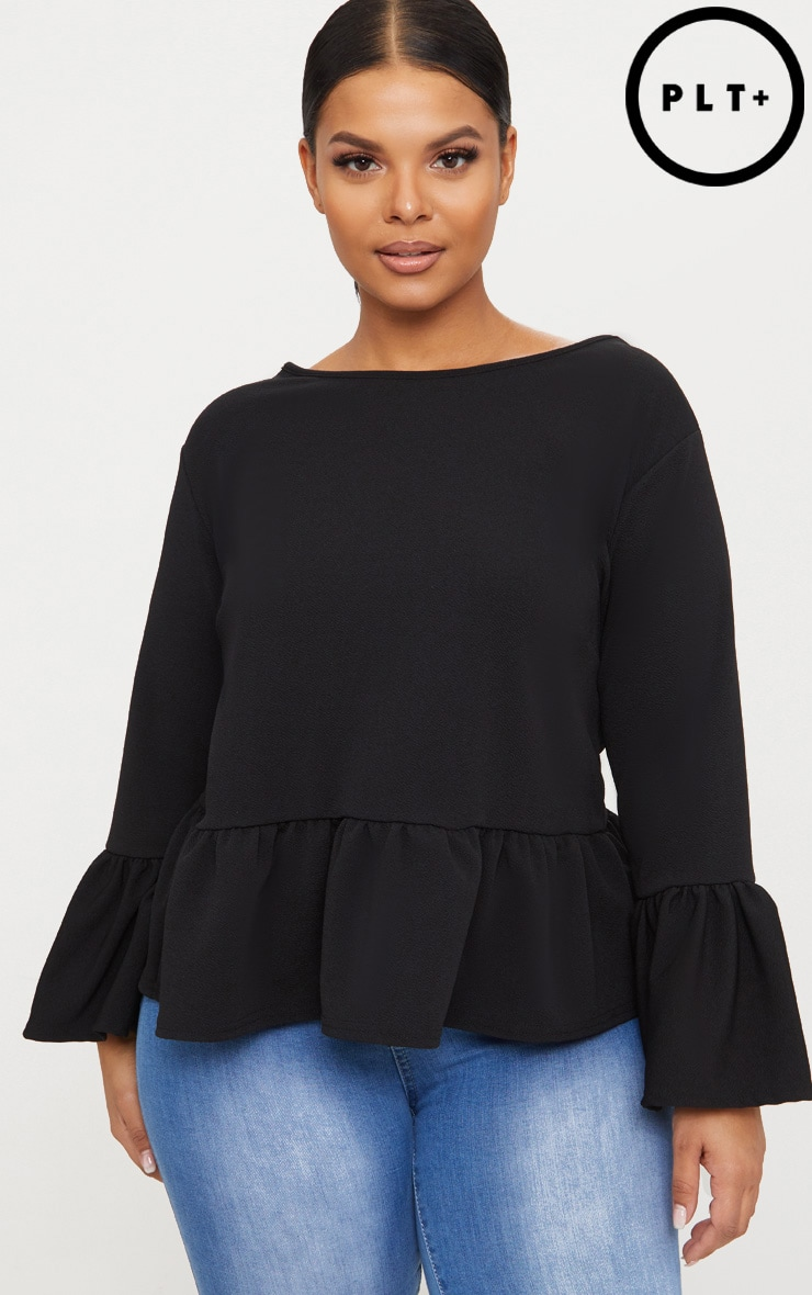 Plus Black Frill Sleeve Top 1