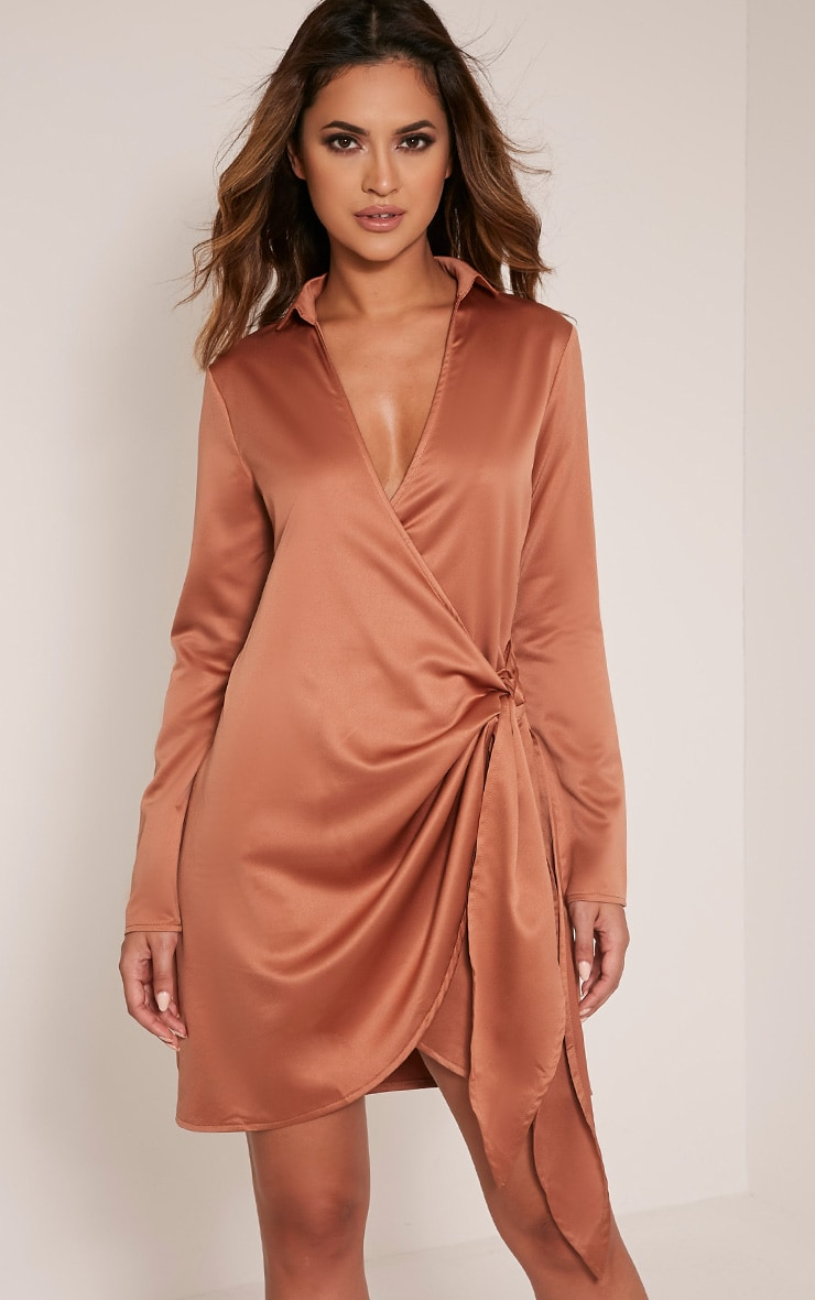 Shaylene Tobacco  Tie Side Satin Shirt Dress 1