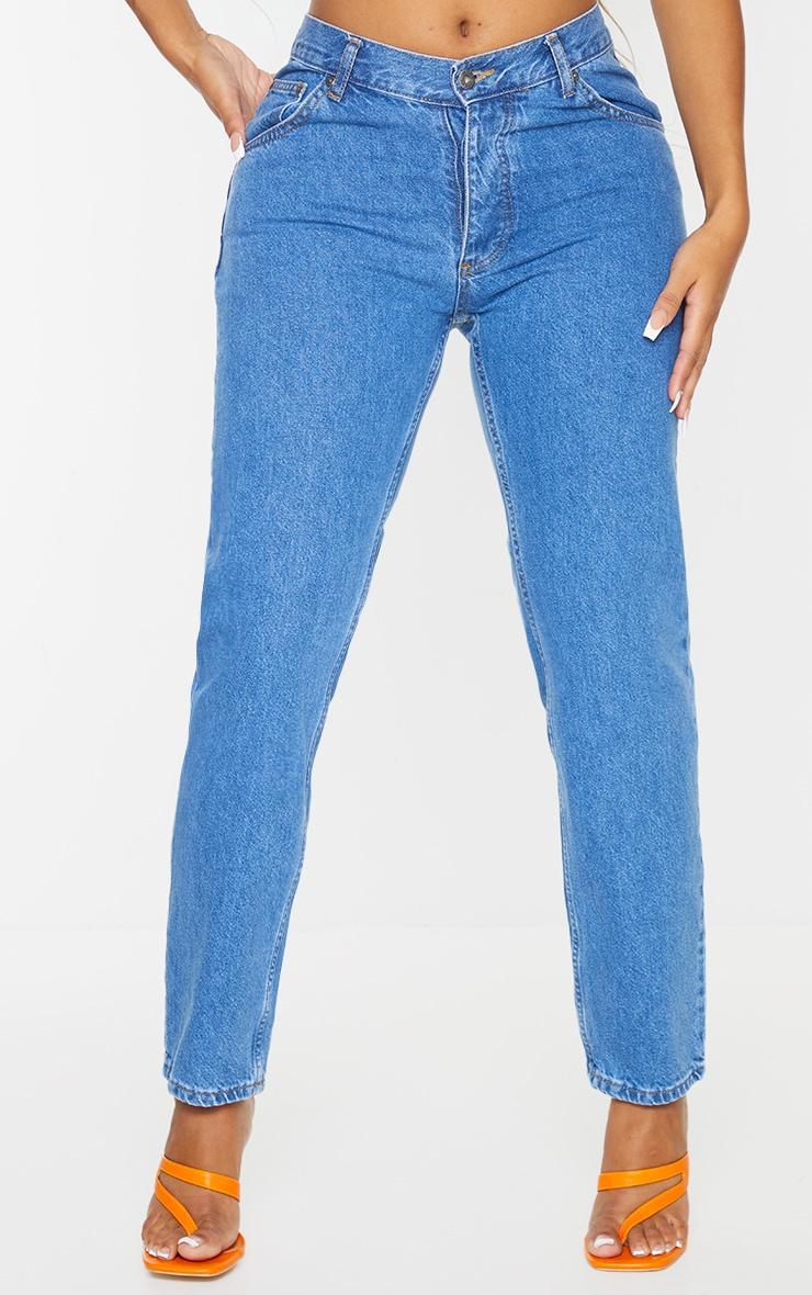 PRETTYLITTLETHING Shape Mid Blue Wash V Front Waistband Straight Leg Jeans 2