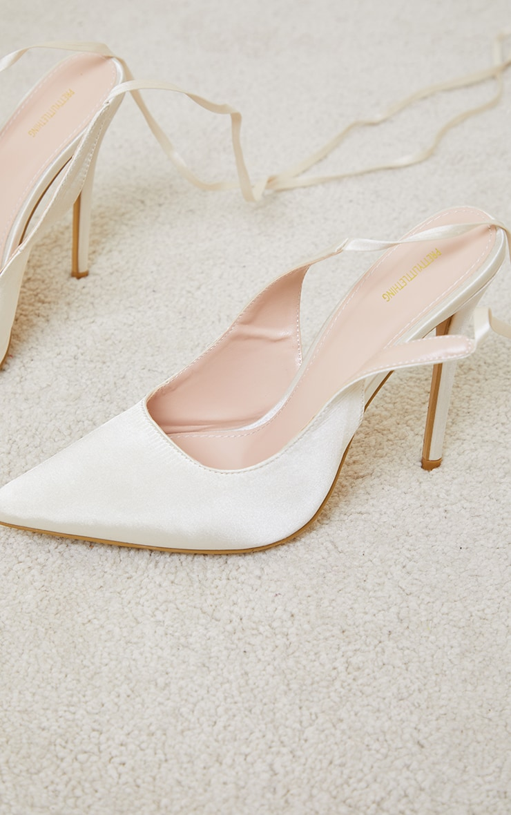 Cream Ankle Tie Court Shoes 4