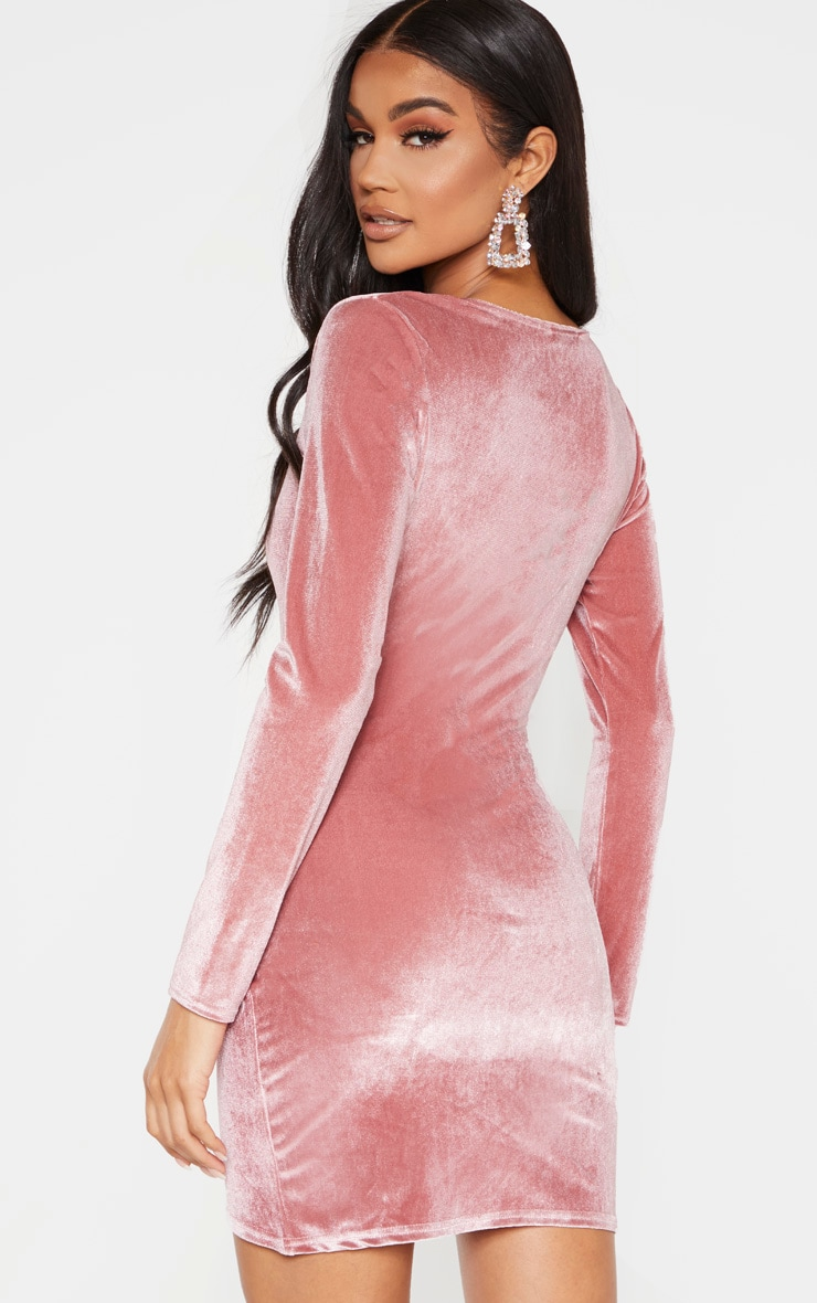 Rose Velvet Long Sleeve Wrap Detail Bodycon Dress 2