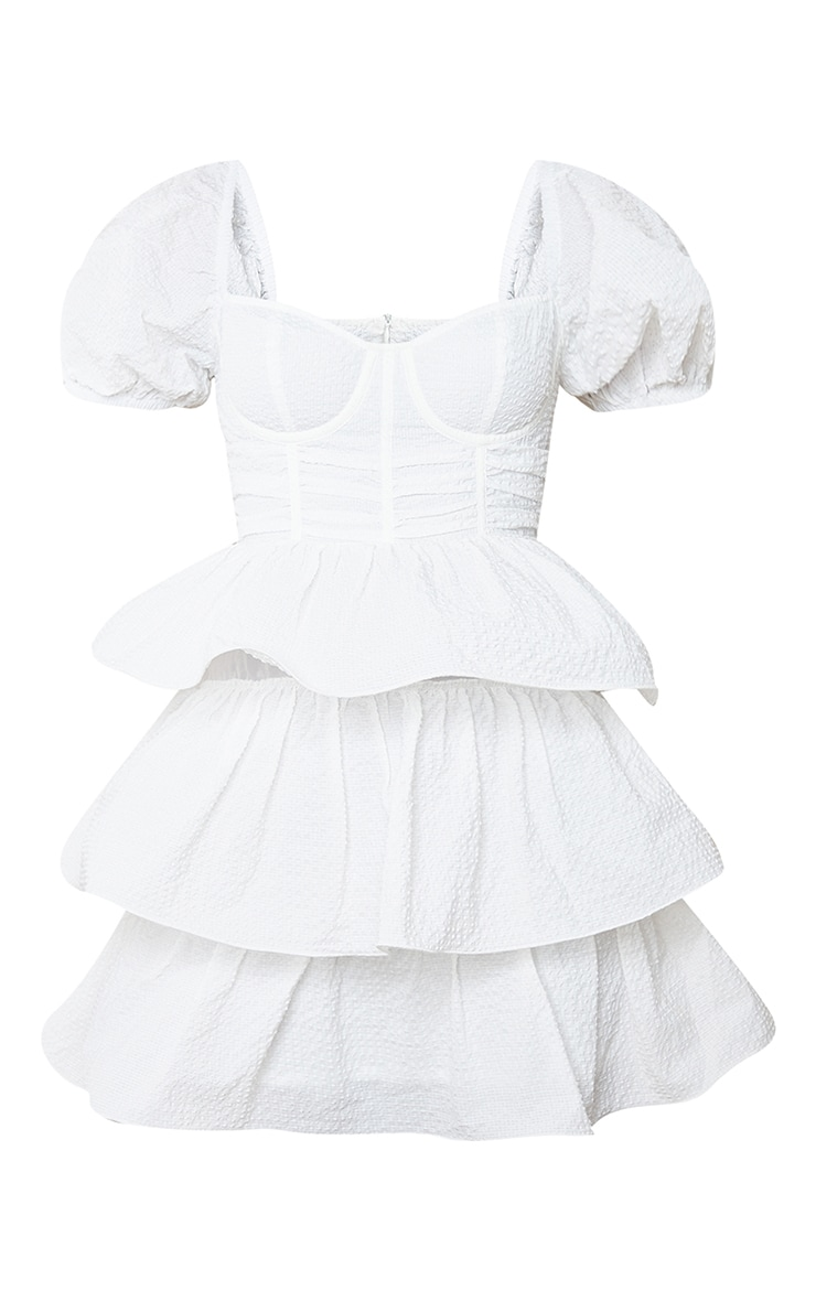 White Crinkle Cup Detail Tiered Skirt Skater Dress 5