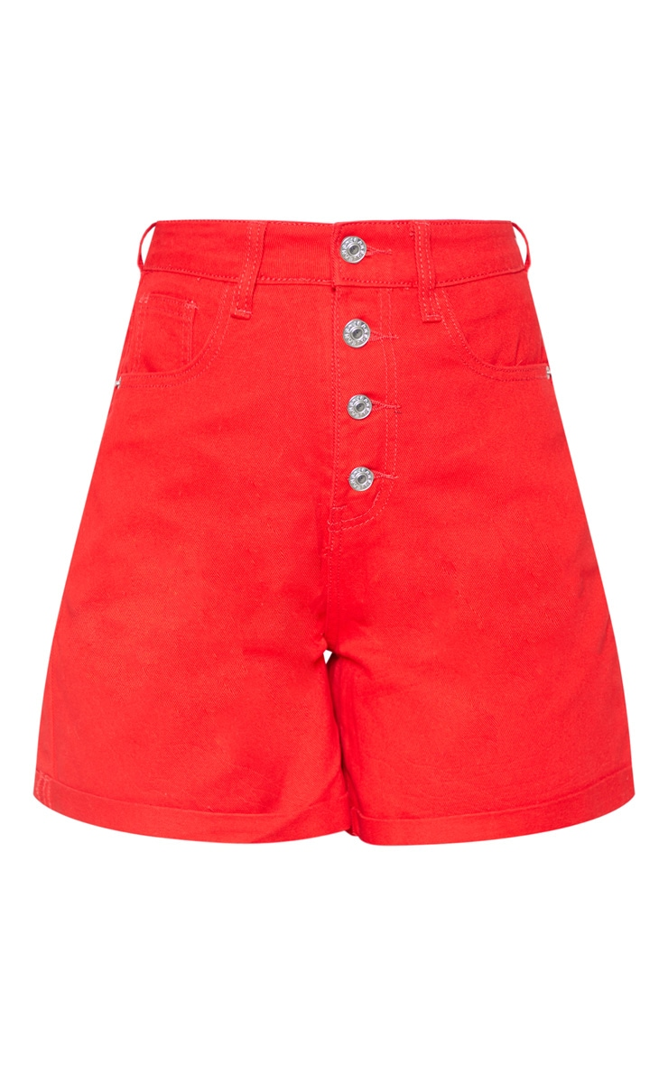 Red Exposed Button Turn Up Detail Mom Shorts  3
