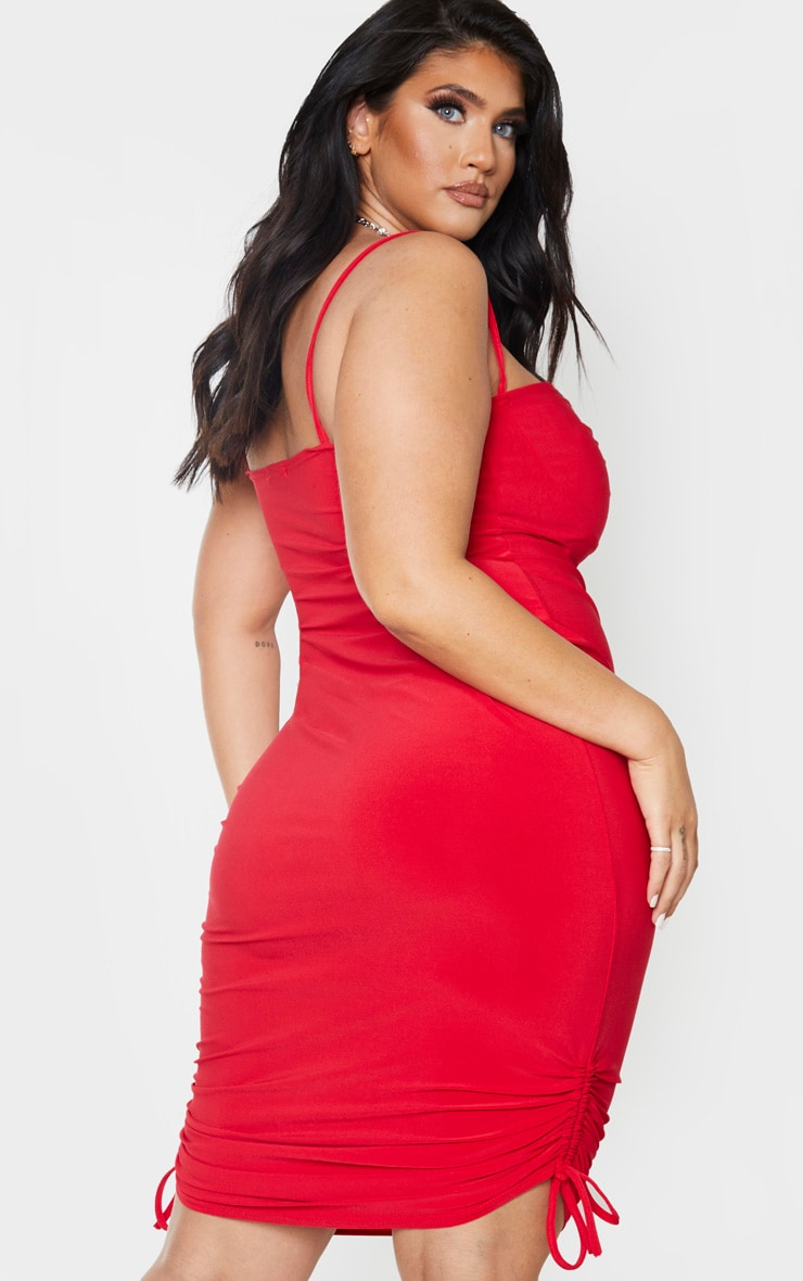 Plus Red Ruching Detail Strappy Midi Dress 2