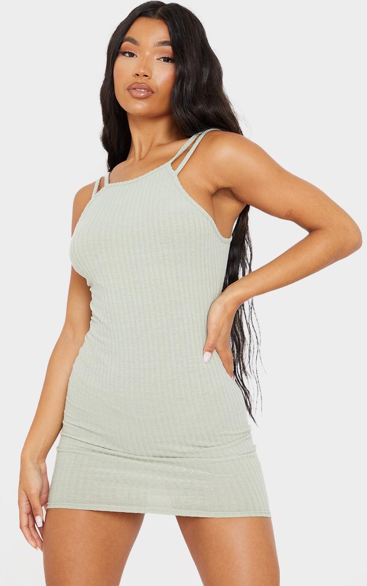 Sage Green Brushed Rib Multi Strappy Bodycon Dress 1