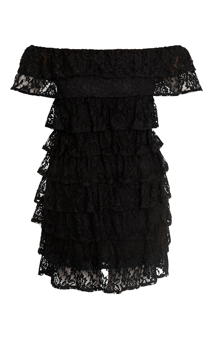 Lorella Black Lace Ruffle Layer Bardot Bodycon Dress 3