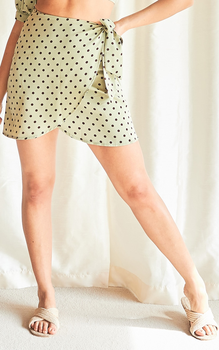 Sage Green Polka Print Wrap Detail Mini Skirt 2