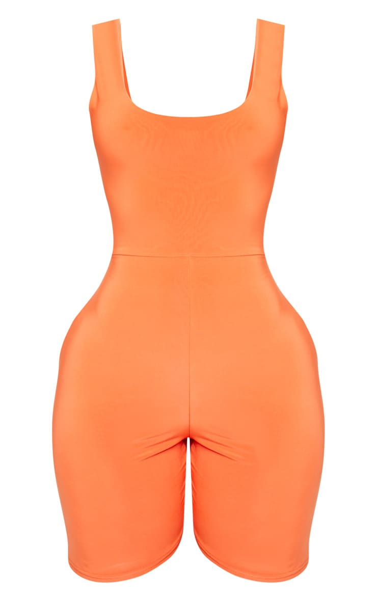 Shape Neon Orange Slinky Scoop Neck Unitard 3