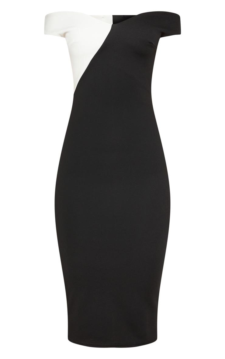 Black Bardot Colour Block Midi Dress 3