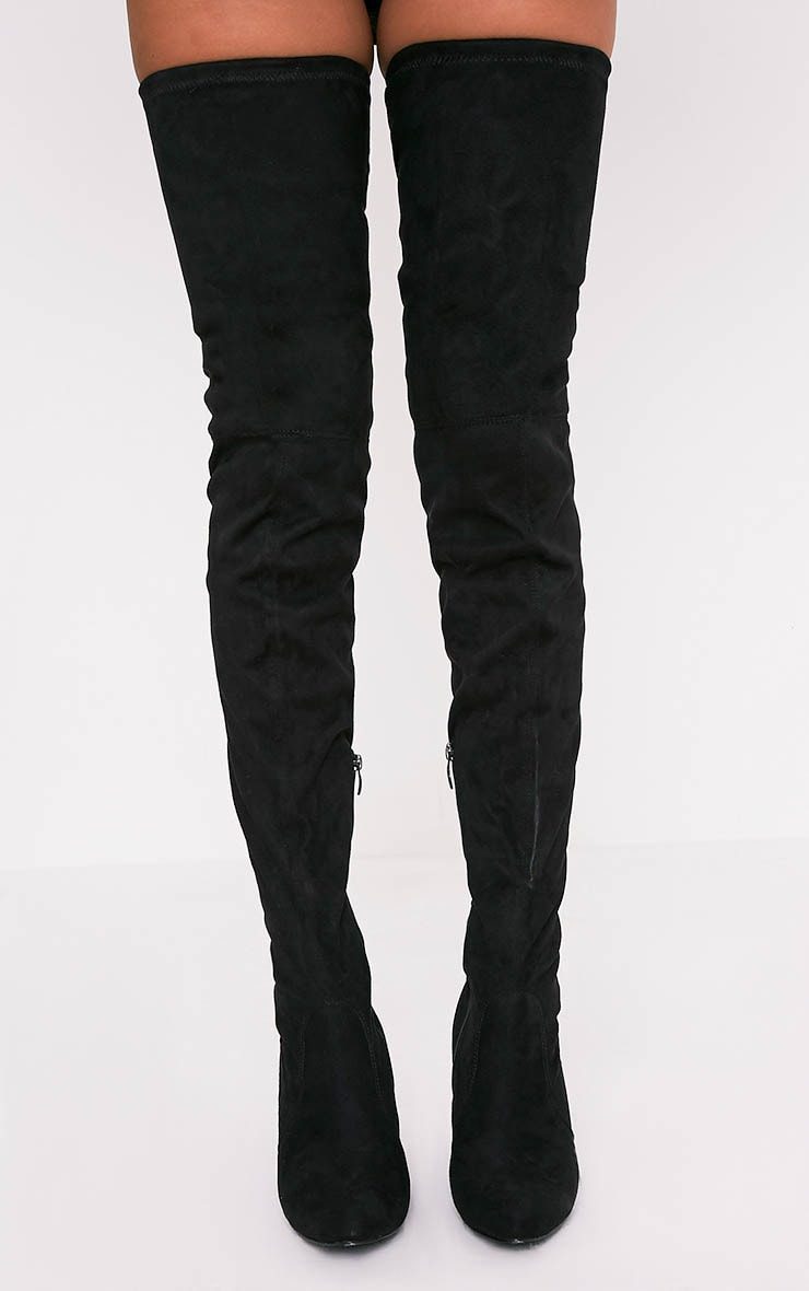 Cindy Black Extreme Thigh High Block Heeled Boots 3