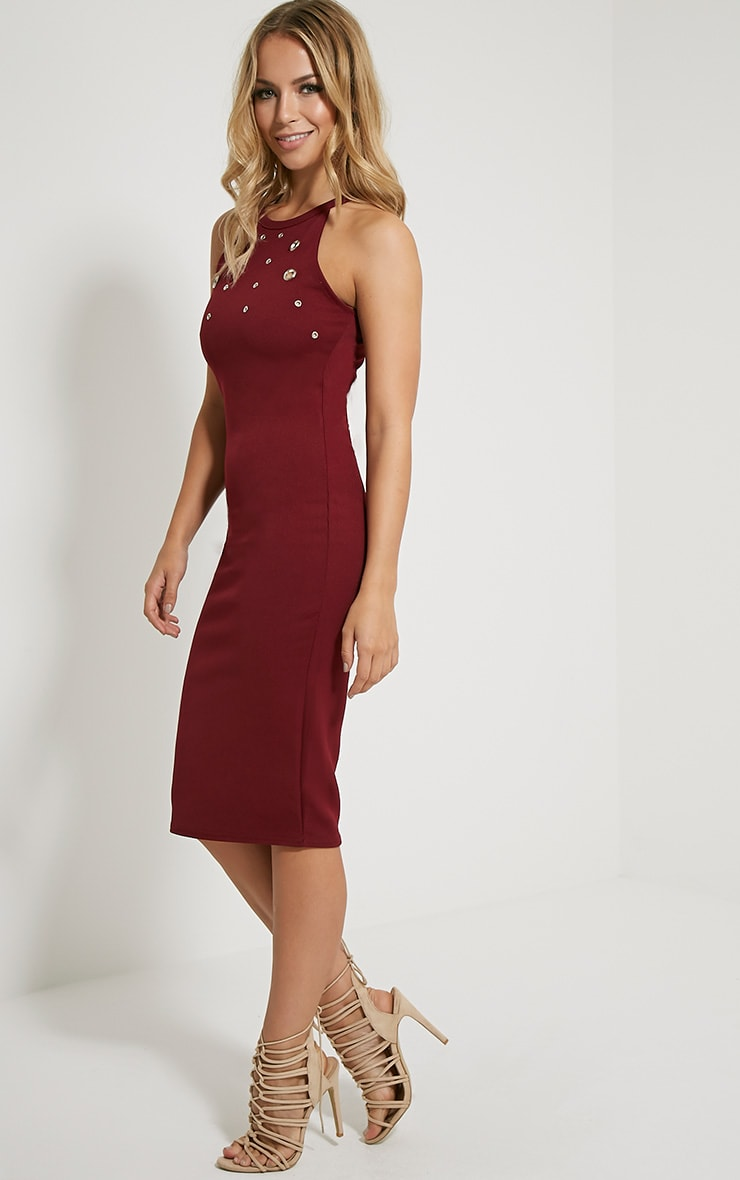 Kami Burgundy Eyelet Racerback Midi Dress 3