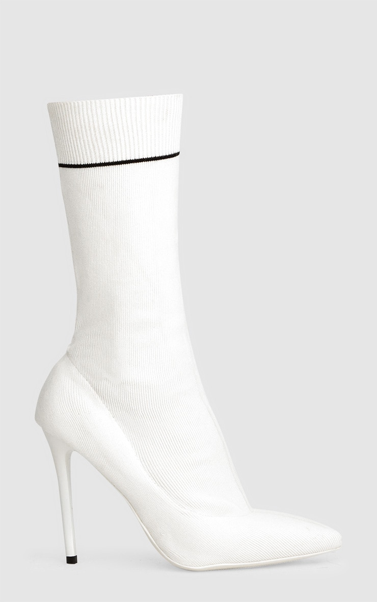 White Contrast Piping Knitted Pointy Sock Boots  3