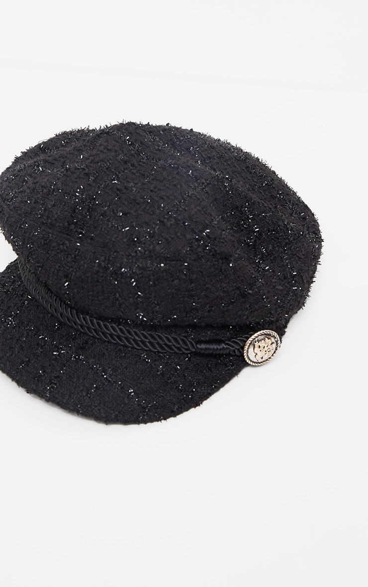 Black Boucle Baker Boy Hat 2