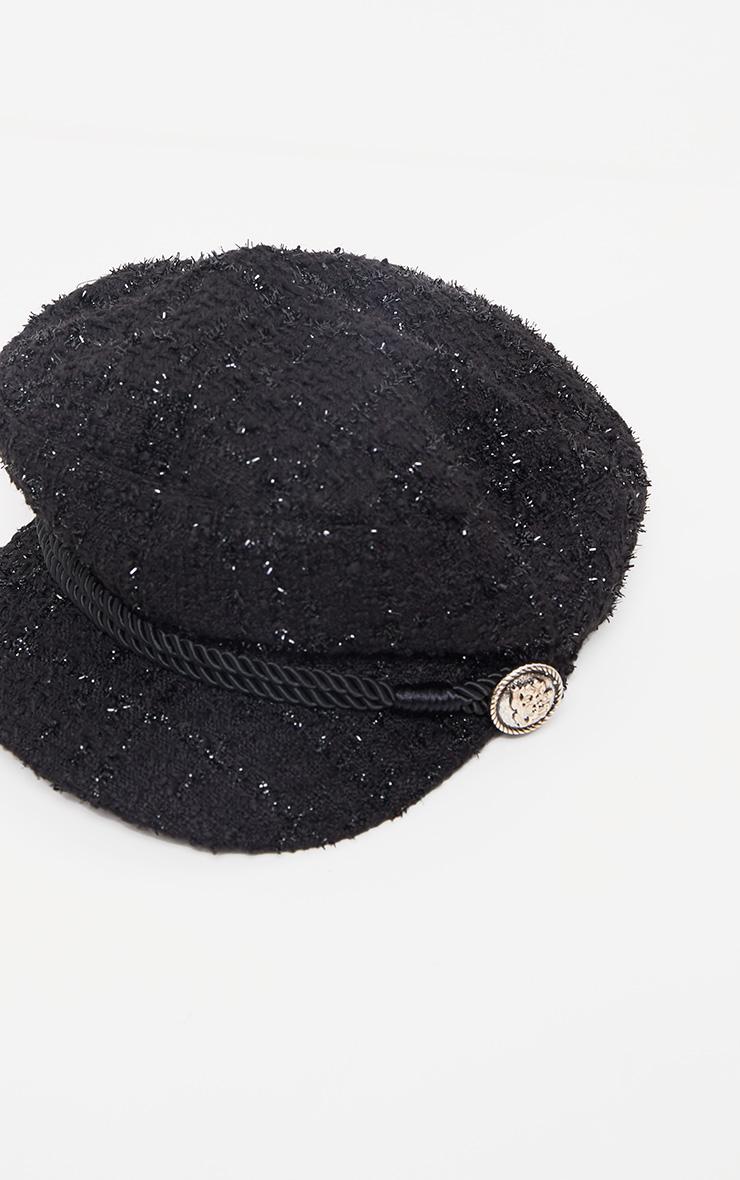 Casquette gavroche noire style tweed 2