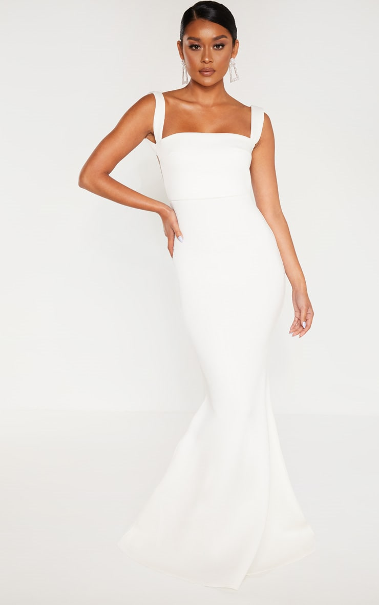 White Strappy Square Neck Maxi Dress 1