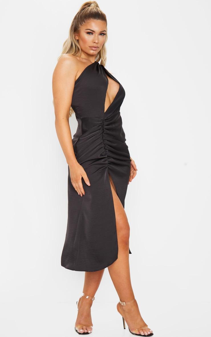 Black One Shoulder Double Strap Midi Dress 1