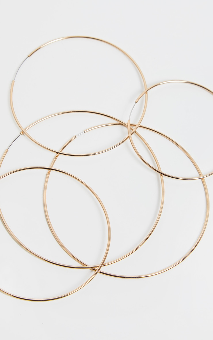 Gold Thin Multi Sizes Hoop Pack 4