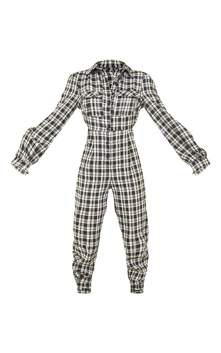 Tall Black Check Pocket Detail Shirt Jumpsuit 5