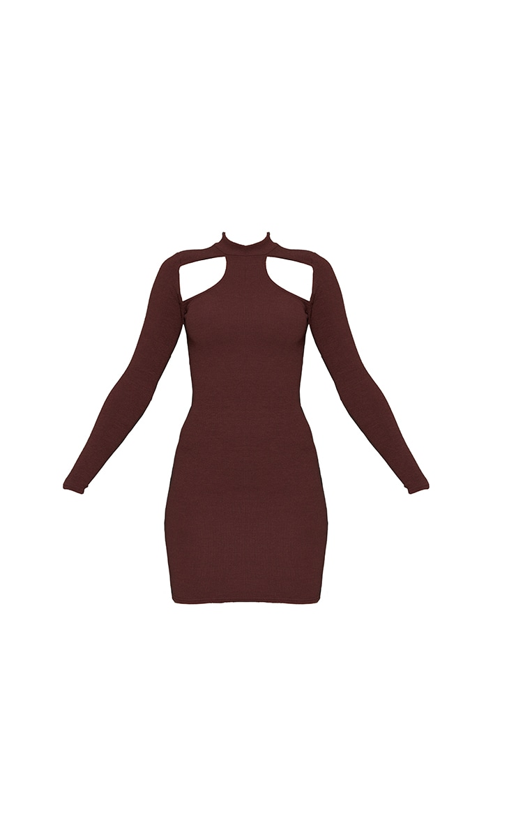 Chocolate Washed Rib Cut Out Chest Detail Long Sleeve Bodycon Dress 5