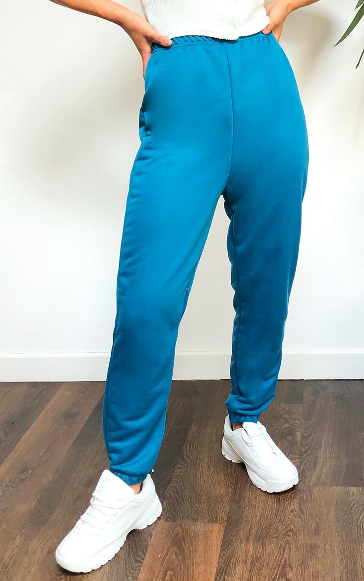 Teal Basic Slim Fit Joggers 2