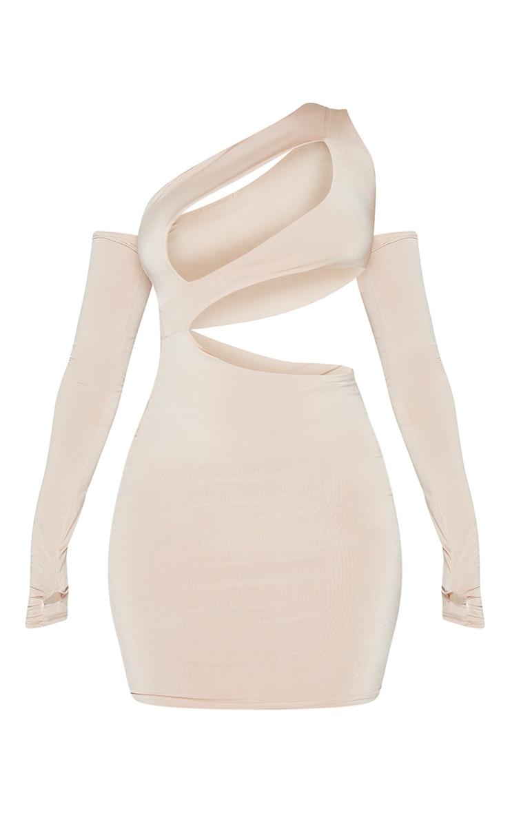 Stone Slinky Bardot Thumb Hole Cut Out Bodycon Dress 5