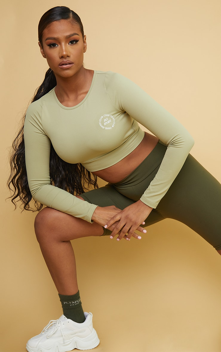 PRETTYLITTLETHING Olive Sport Cool Down Long Sleeve Crop Top 1