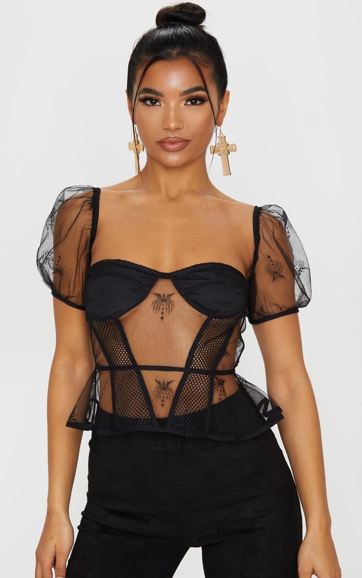 Black Lace Bardot Mesh Panel Corset Top 1