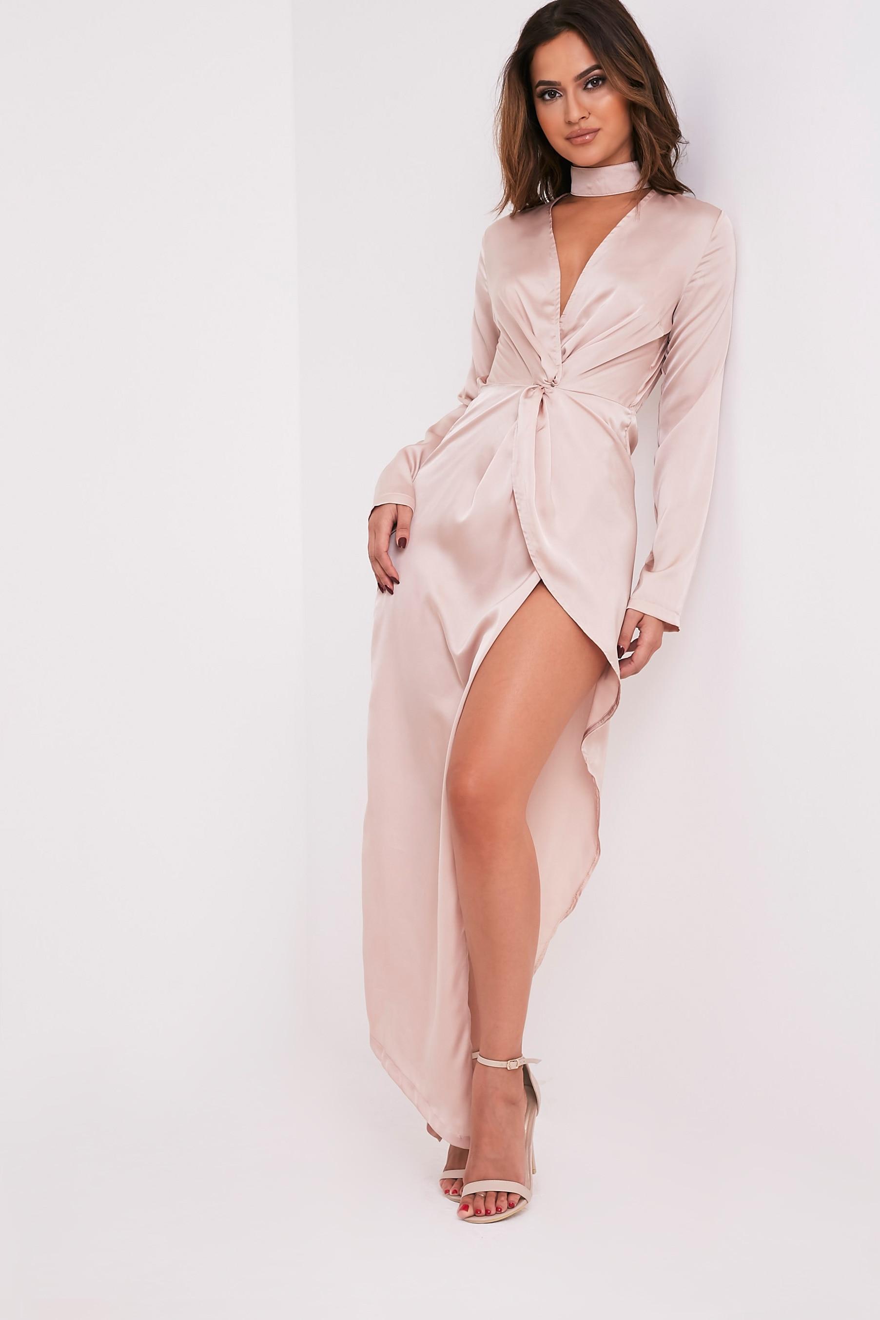 Melody Champagne Choker Detail Asymmetric Maxi Dress 4