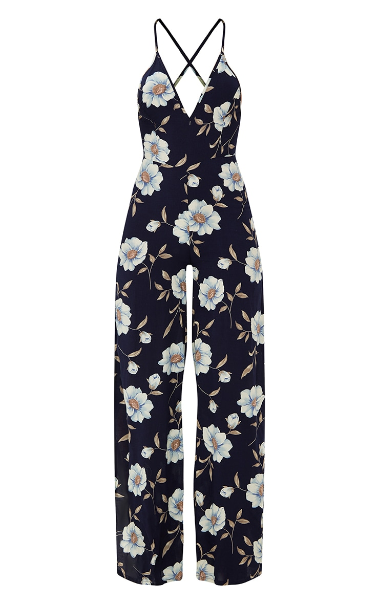 Navy Floral Plunge Side Split Leg Jumpsuit 3