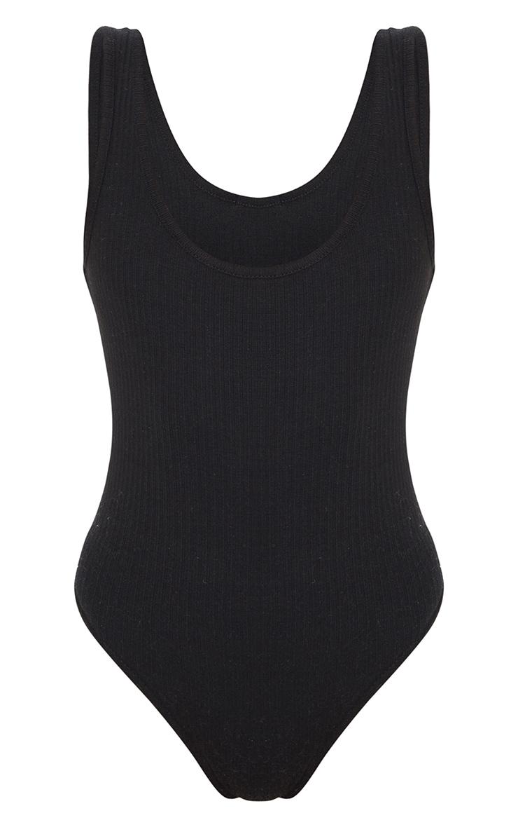 Black Scoop Neck Rib Bodysuit 5