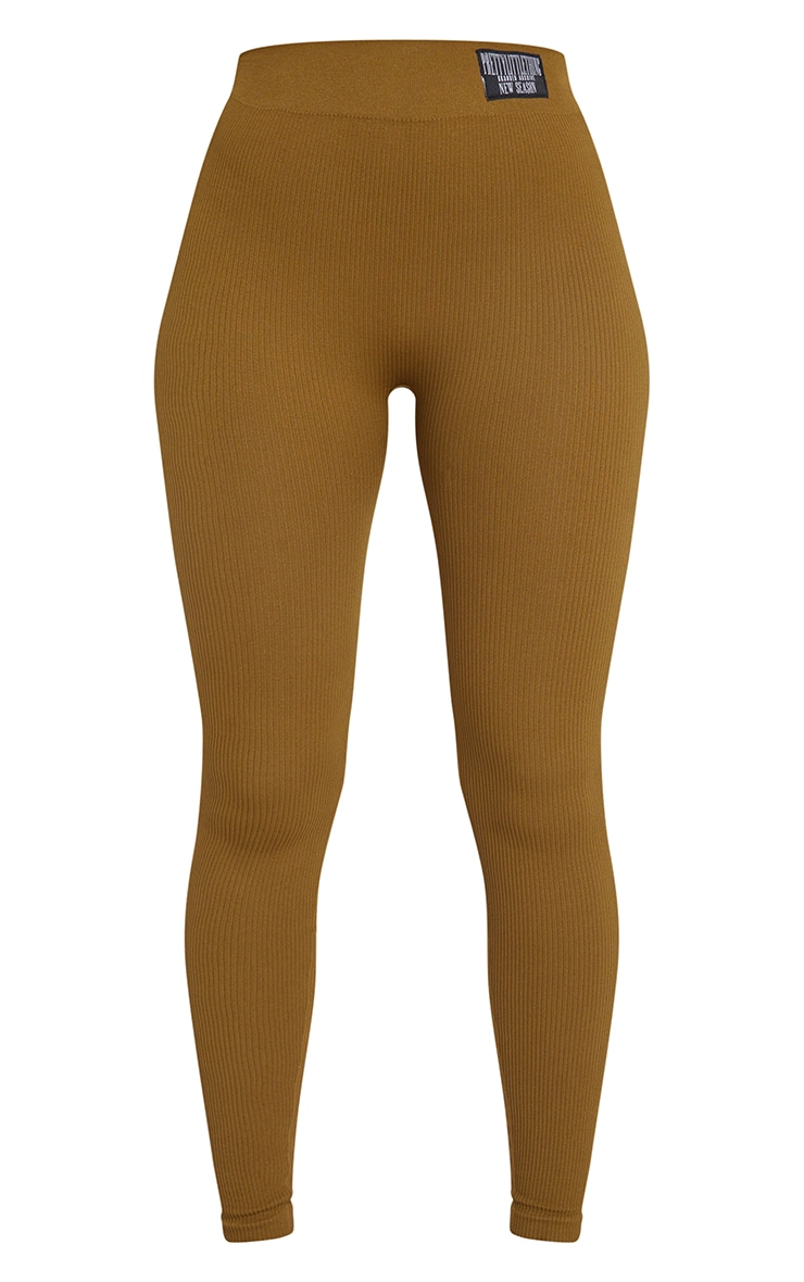 PRETTYLITTLETHING Olive Contour Ribbed Leggings 5