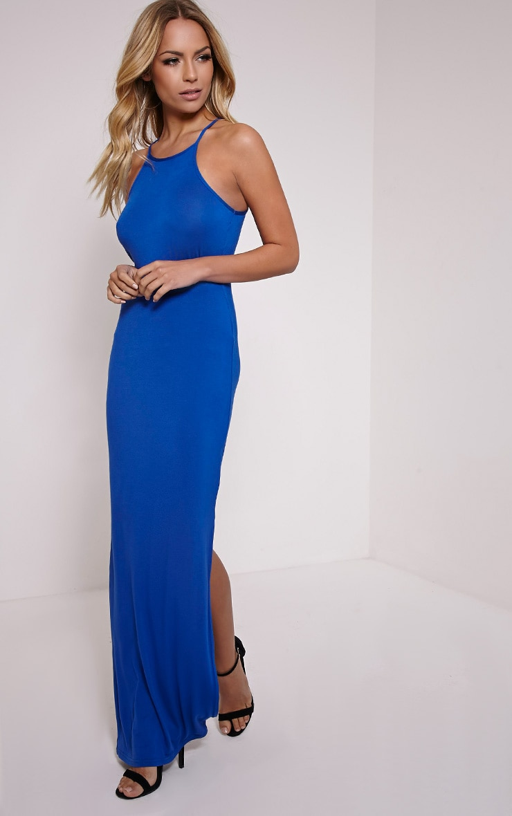 Basic Cobalt Square Neck Maxi Dress 4