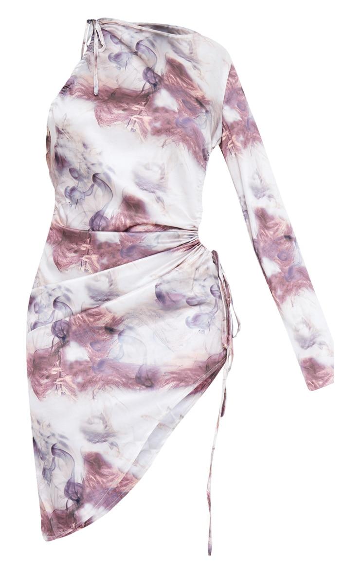 Nude Satin Abstract Print Waist Cut Out Bodycon Dress 6