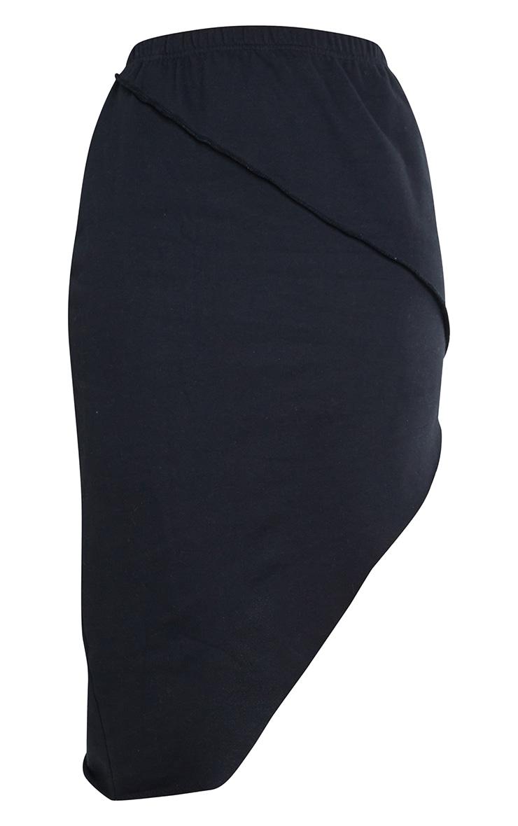 Black Lightweight Contrast Stitch Detail Asymmetric Hem Skirt 6