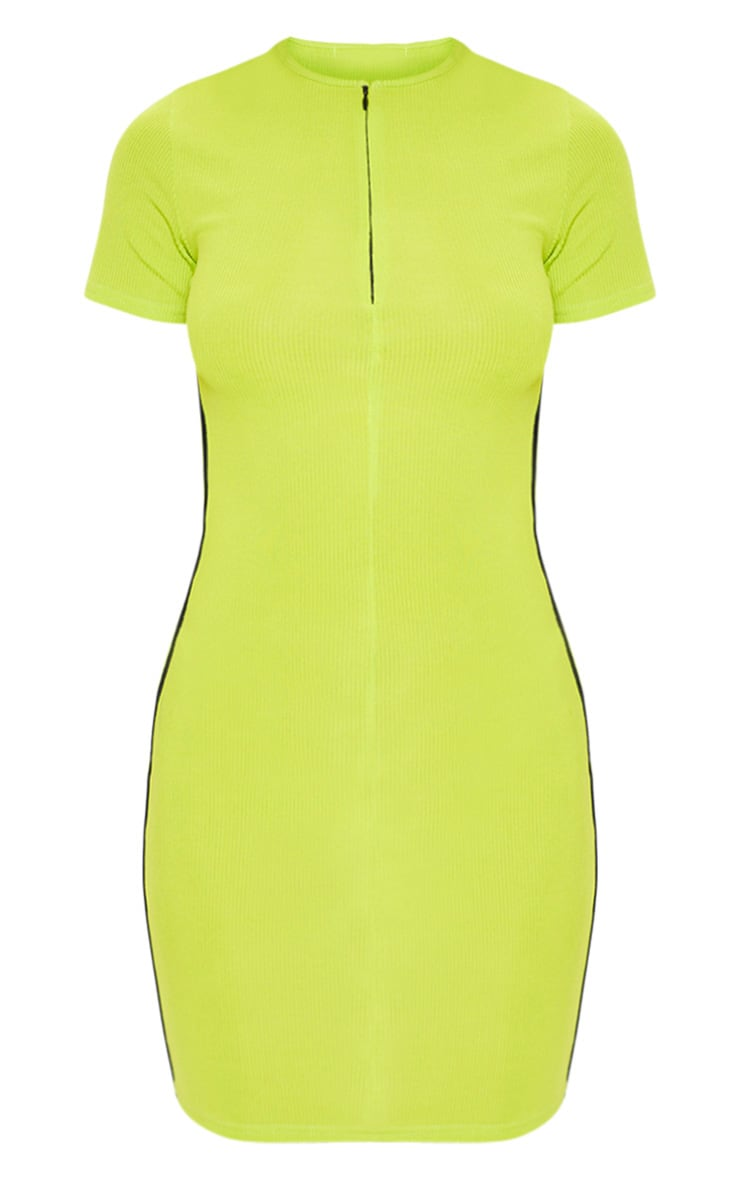 Lime Zip Front Side Stripe Bodycon Dress 3