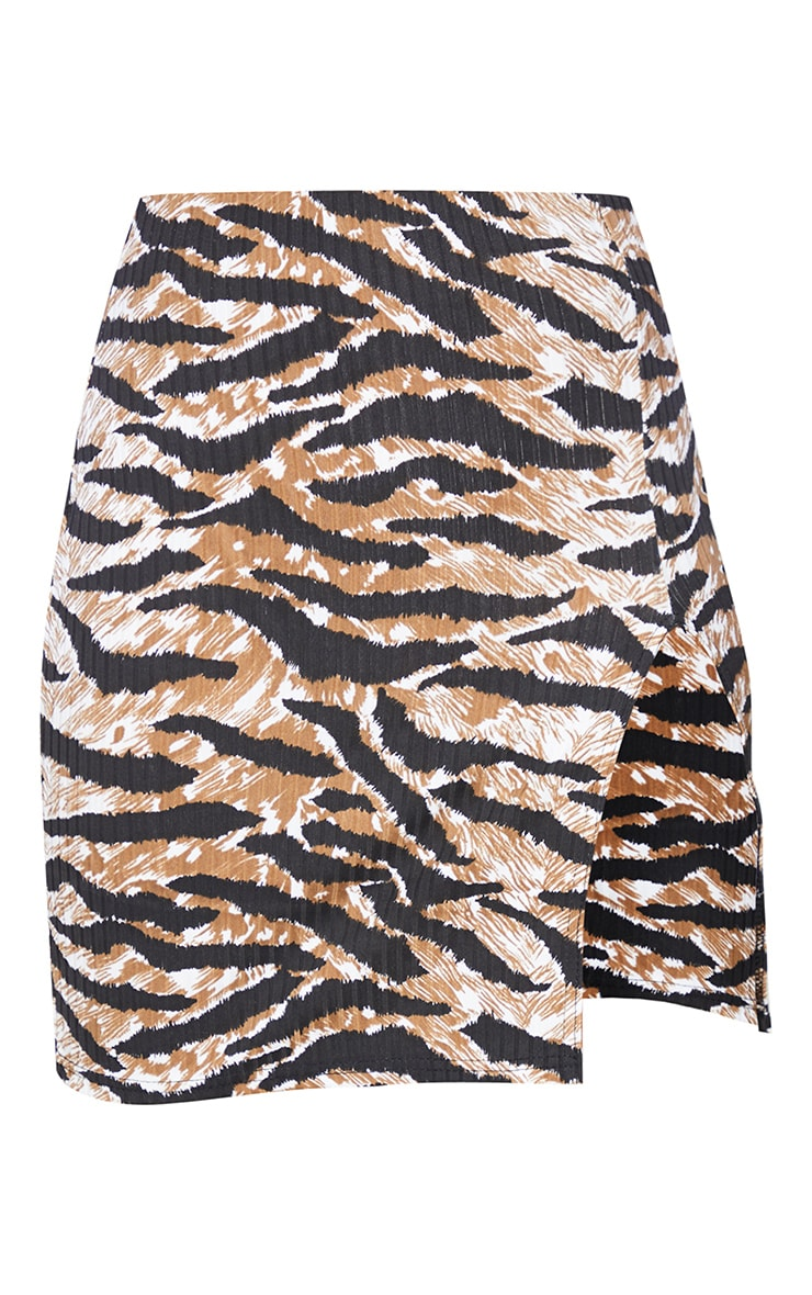 Brown Tiger Print Rib Split Front Mini Skirt 6