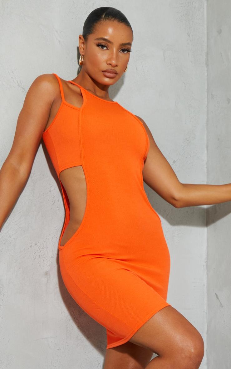 Orange Ribbed Multi Strap Cut Out Bodycon Dress 3