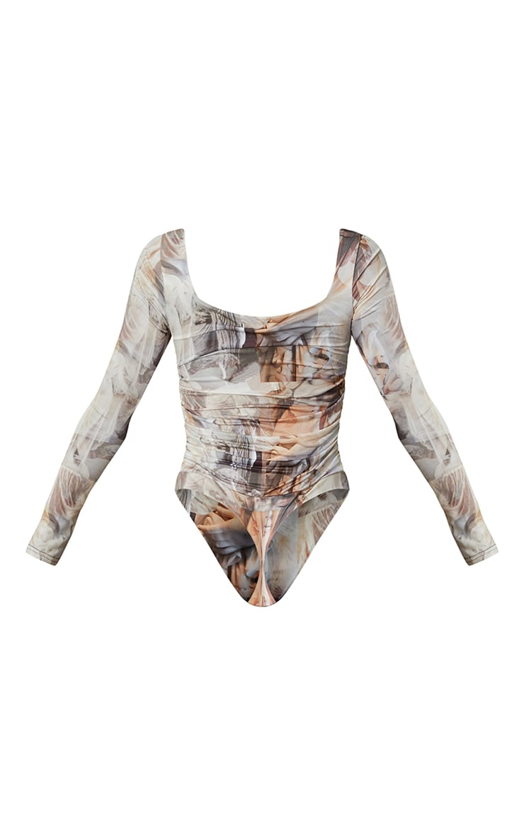 Nude Renaissance Printed Slinky Ruched Long Sleeve Square Neck Bodysuit 5
