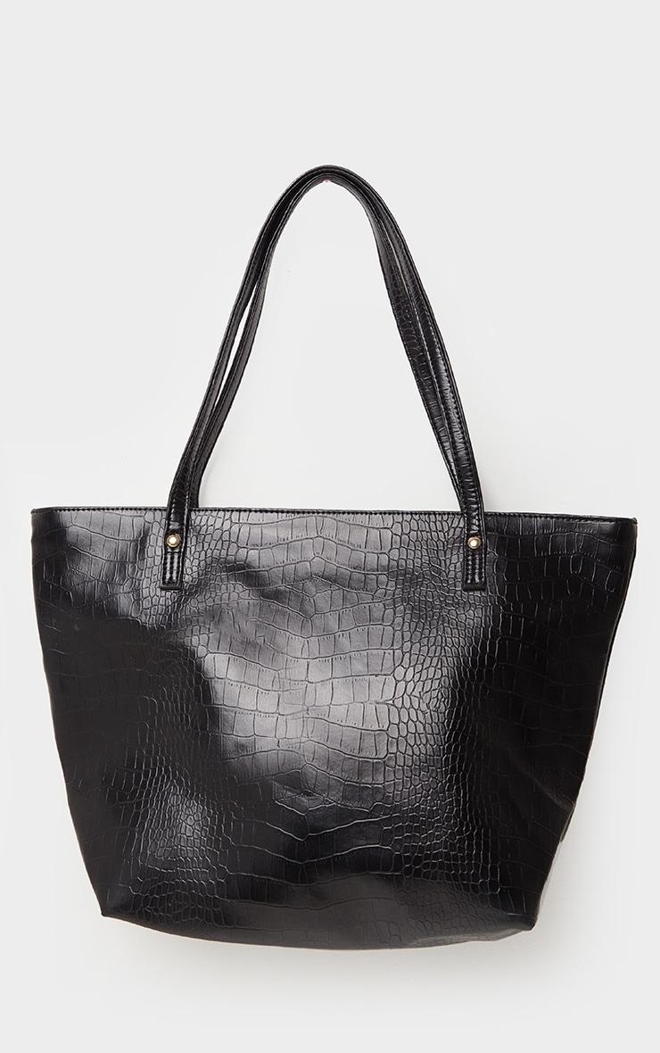 Black Matte Croc Tote Bag 2