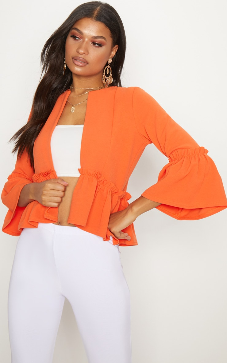 Orange Frill Sleeve Blazer  1