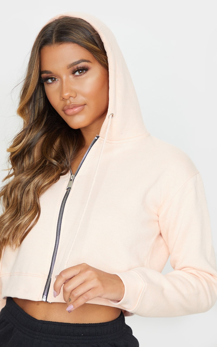 Blush Crop Zip Long Sleeve Hoodie 5
