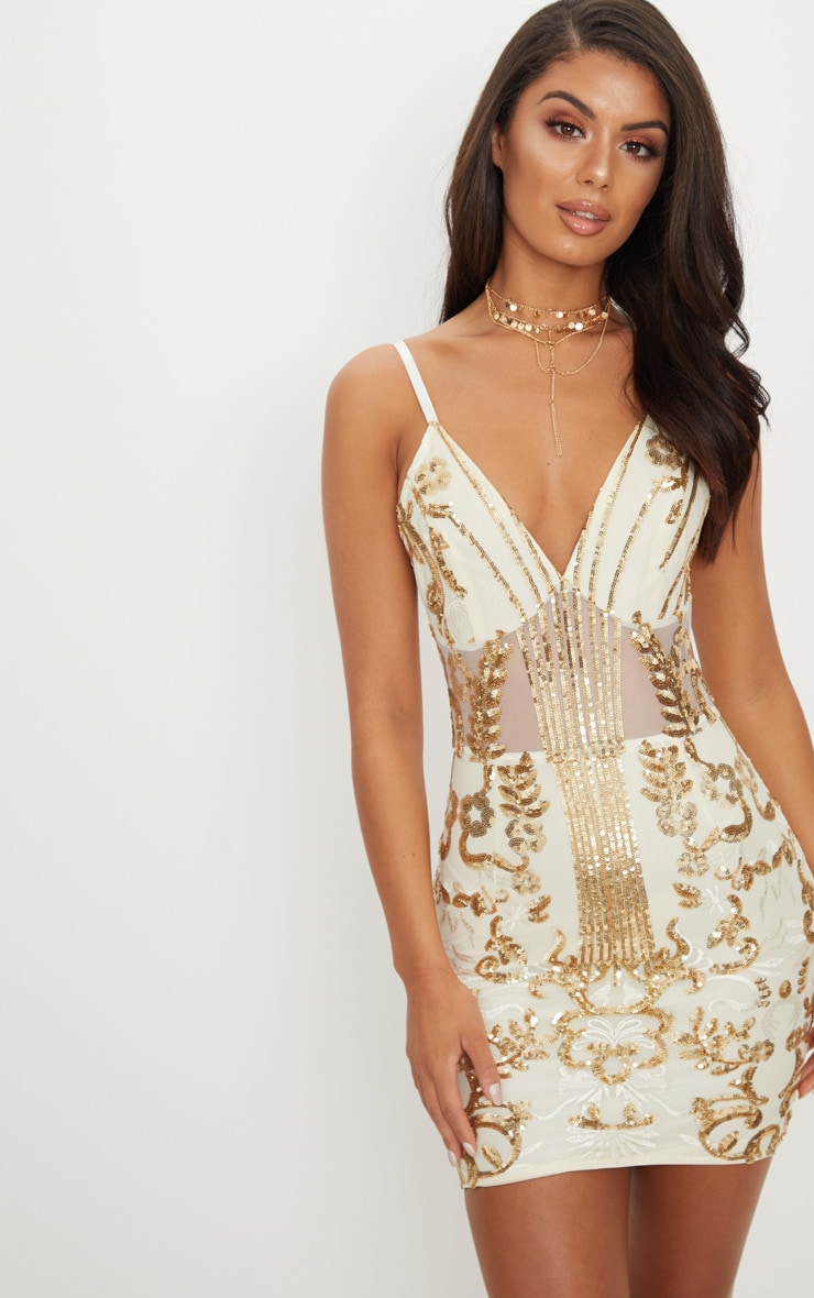 Gold Sheer Strappy Panel Sequin Bodycon Dress 4