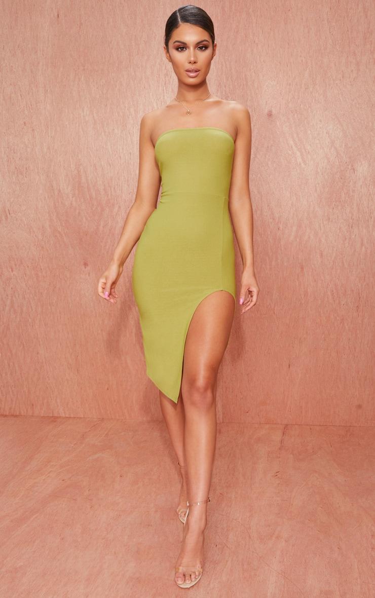 Olive Green Crepe Bandeau Split Front Midi Dress 1