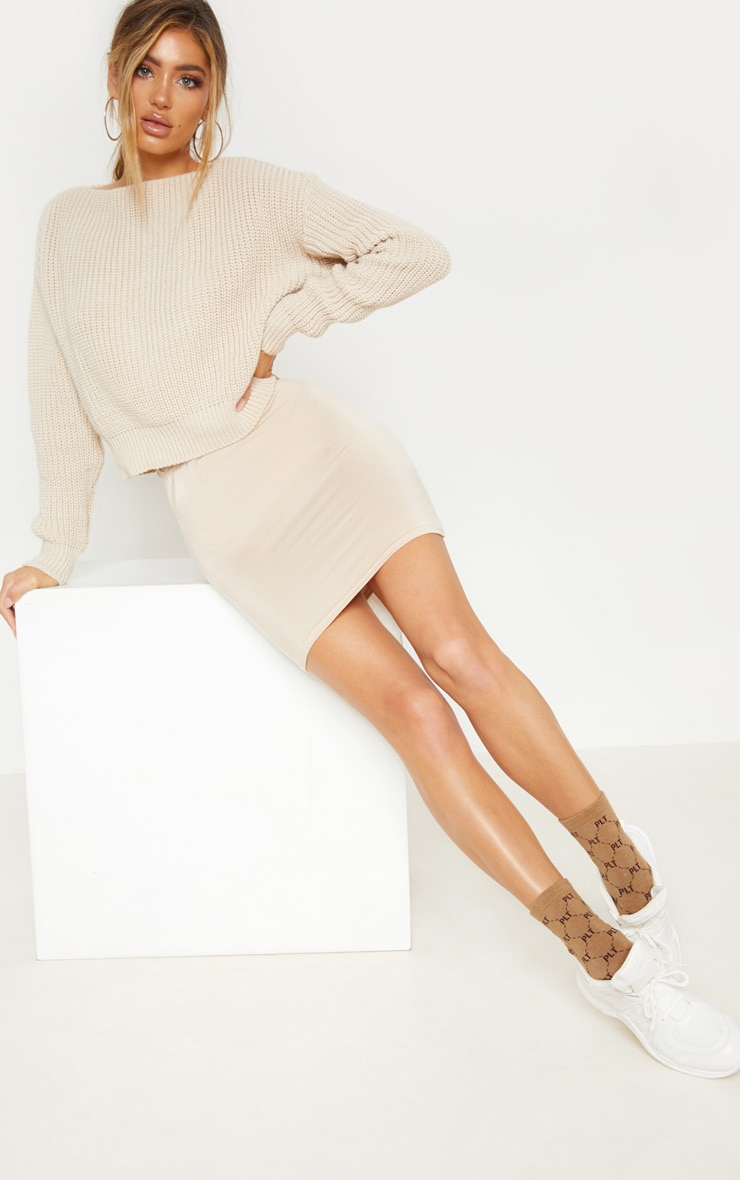 Deep Stone Basic Jersey Mini Skirt