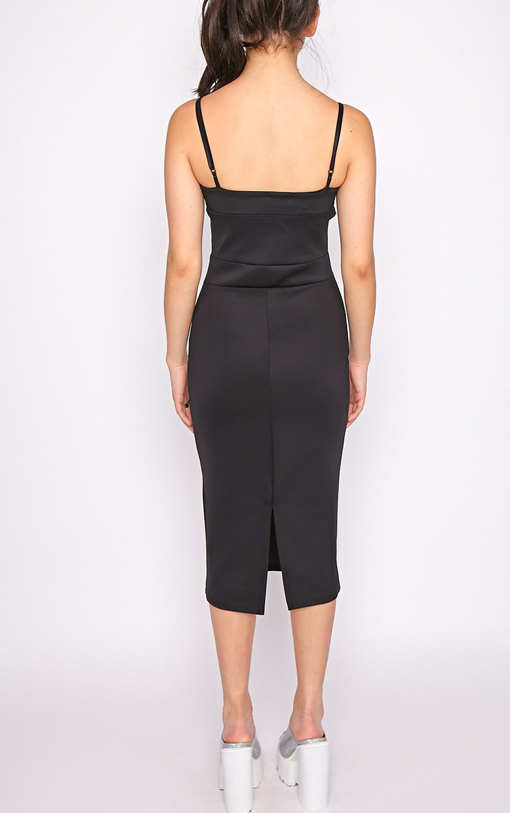 Traci Black Bodycon Midi Dress 2