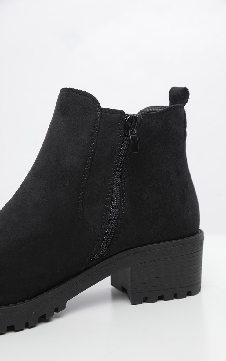 Black Faux Suede Low Heel Cleated Chelsea Ankle Boot 4
