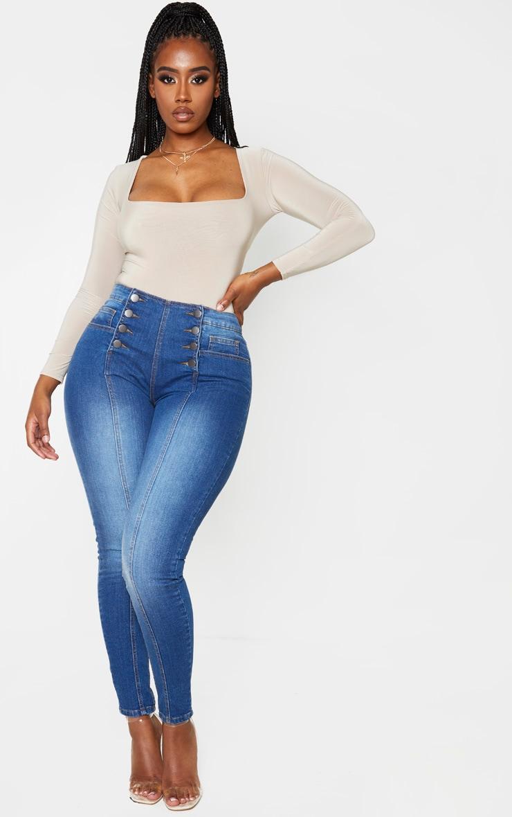 Shape Dark Wash Button Front High Waist Skinny Jeans 1