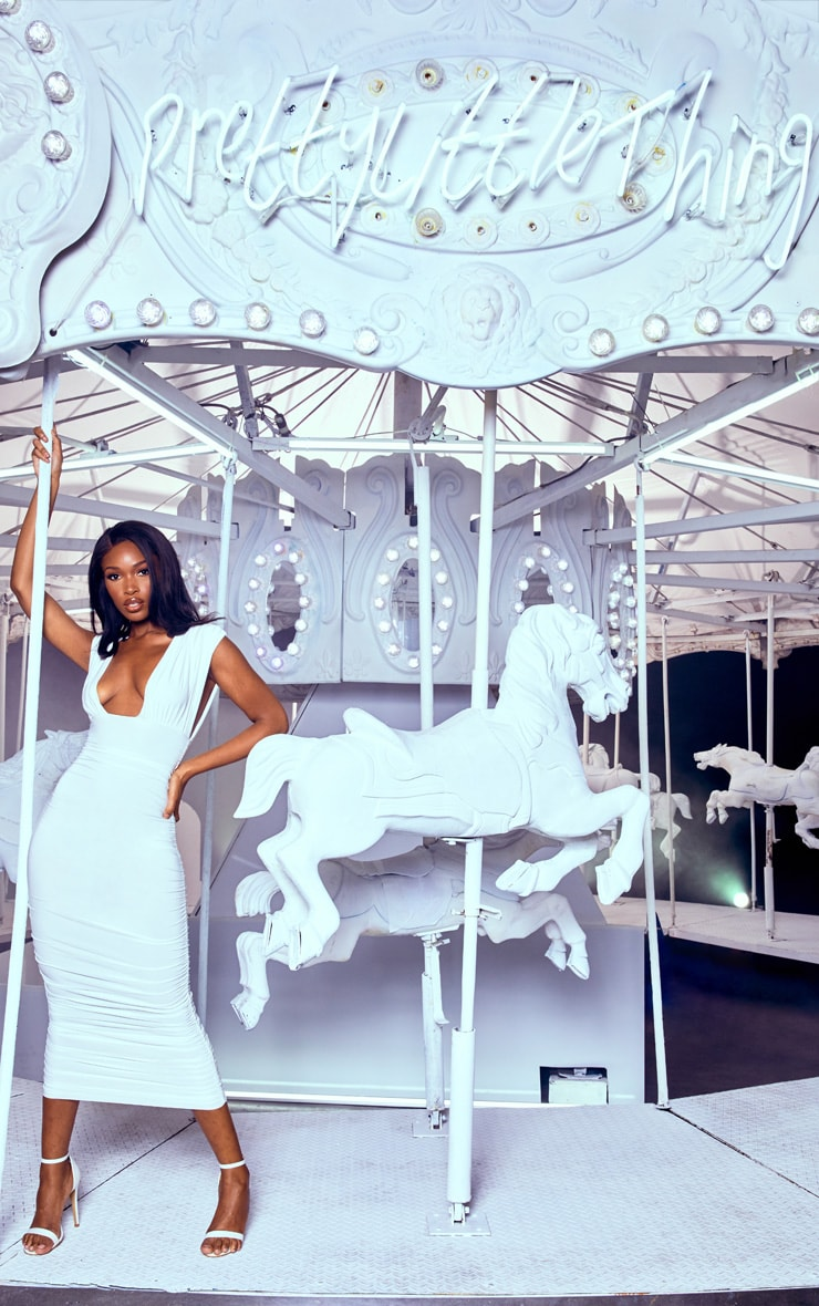 White Ruched Plunge Midi Dress